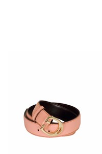 Gucci Pink Leather Belt with Logo-Shaped Buckle