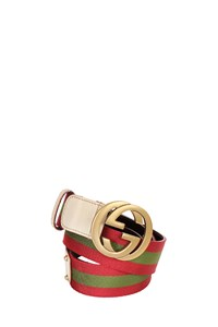 Gucci Striped Canvas and Leather Belt