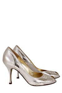 Dolce & Gabbana Silver Leather Peep-Toe Pumps