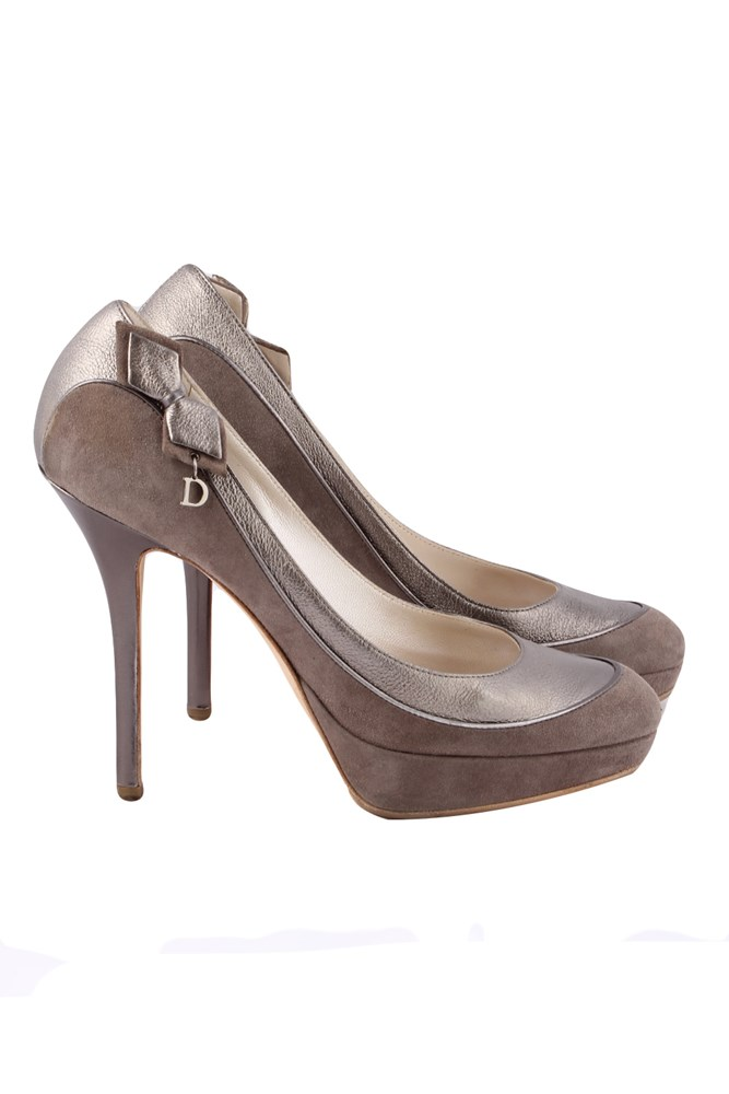 Deco taupe suede pumps with bow pumps high heeled shoes starbags products for Deco badkamer taupe