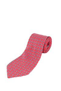 Hermès Red Silk Tie with Blue Print