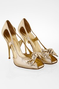 Valentino Gold Snakeskin Pumps with Bow Embellishment