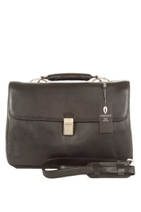 Tuscan's Black Leather Briefcase with Strap