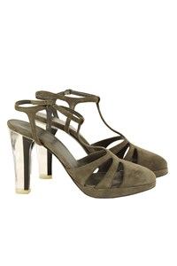 Nina Ricci Khaki Suede Pumps with Plexiglass Heel