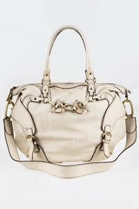 Gucci Horsebit Nail Ivory Leather Tote Bag with Strap