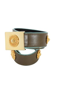 Escada Olive Green Leather Belt with Golden Details