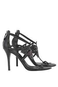 Pierre Balmain Black Cut-Out Leather Sandals