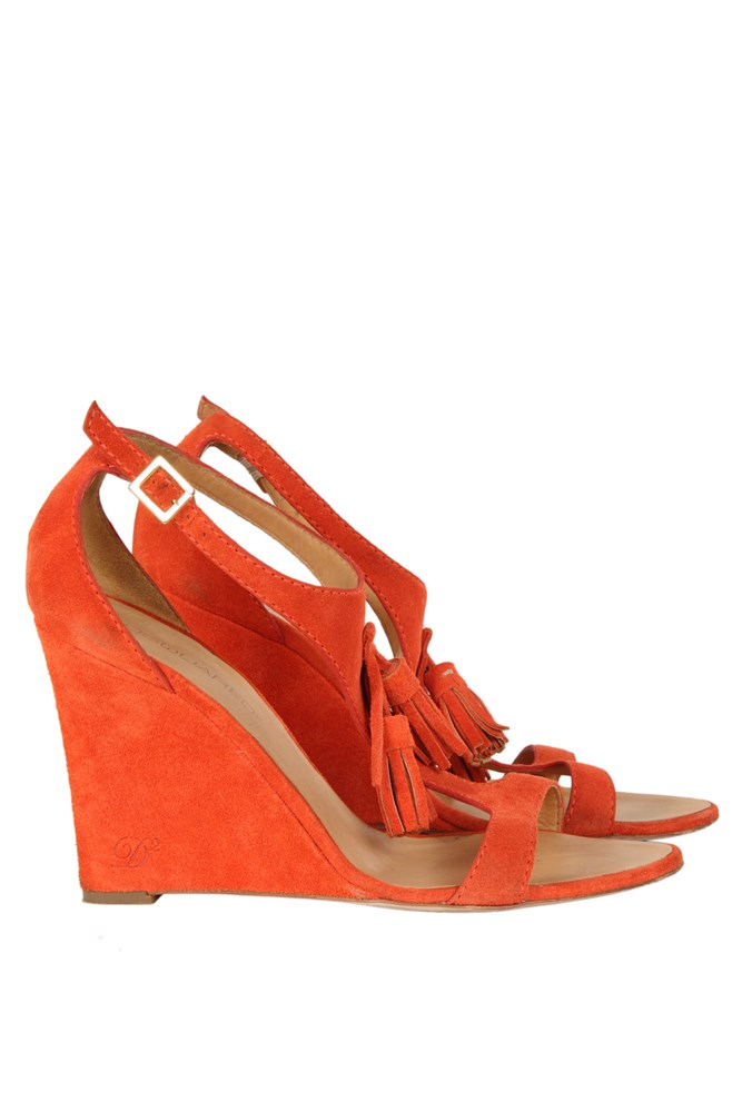burnt orange wedge sandals with tassels sandals high