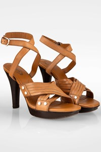 Tod's Plateau Sasha Tan Strappy Ankle Wrap Sandals / Size: 38 - Fit: True to size