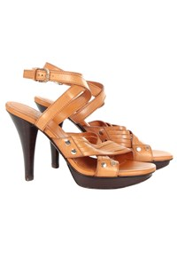 Tod's Plateau Sasha Tan Strappy Ankle Wrap Sandals