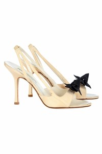 Oscar de la Renta Nude Sandals with Black Bow