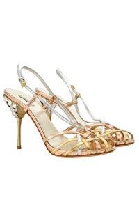 Miu Miu Rose Gold Strappy Jeweled Sandals