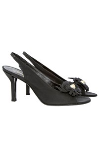 Chanel Black Flower and Pearl Embellished Slingbacks