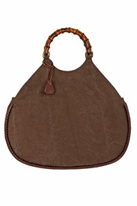 Gucci Brown Canvas Bag with Bamboo Handles