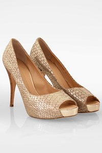 Giuseppe Zanotti Golden Snake-Print Peep-Toe Pumps / Size: 40 - Fit: True to size