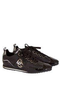 Dolce & Gabbana Black Sneakers with Patent Leather Details
