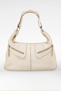 Tod's Miky Ecru Leather Bag with Pockets