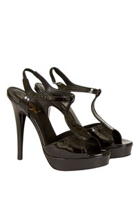YSL Black Patent Leather Platform Sandals