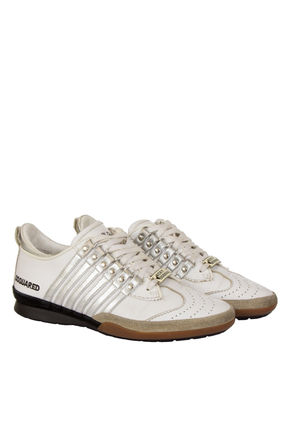 1cdde7f01a1a Dsquared2 White Leather Sneakers with Silver Stripes ...