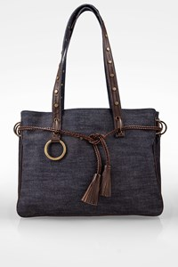 Dolce & Gabbana Blue Denim Shoulder Bag with Tasseled Straps