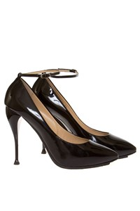 Giuseppe Zanotti Black Patent Leather Ankle-Strap Pumps