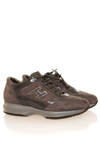 Hogan Interactive Mouse Grey Suede and Patent Leather Sneakers
