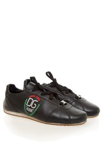 Dolce & Gabbana Black Leather Logo-Embroidered Sneakers