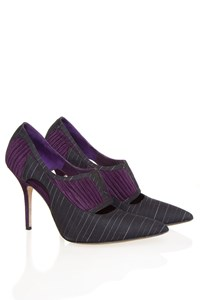 Manolo Blahnik Pinstripe Twill and Velvet Pointed Booties