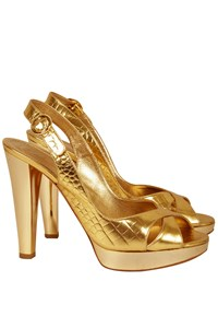 Casadei Gold Croc-Effect Slingbacks