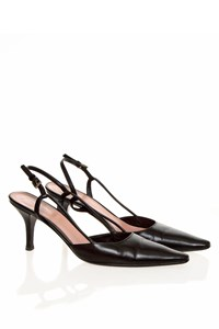Prada Black Capretto Leather Pointed Slingbacks