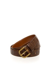 Emporio Armani Brown Croc-Effect Leather Belt
