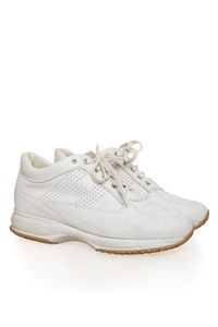 Hogan Interactive White Sneakers with Perforated Logo