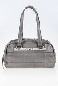Chanel Grey Square Stitch Caviar Bowler Bag