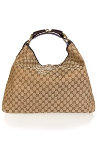 Gucci GG Canvas Large Horsebit Hobo Bag