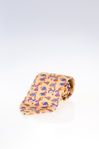 Hermès Yellow Silk Joker Hats Print Tie