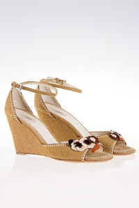 Prada Beige Woven Wedges with Knitted Flowers