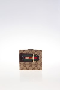 Gucci GG Canvas Compact Wallet with Horsebit