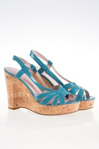 Marc By Marc Jacobs Blue-Green Patent Leather Cork Wedges / Size: 39 - Fit: True to size
