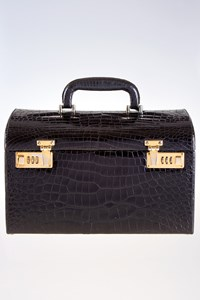 Vintage Black Crocodile Skin Travel Bag