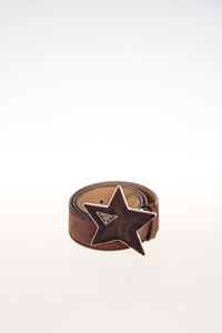 Prada Brown Leather Belt with Star Buckle