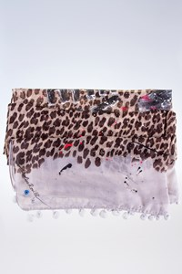 Caroline Rovithi 'ΝΥ Never Sleeps' Animal-Print Scarf with Pom Poms