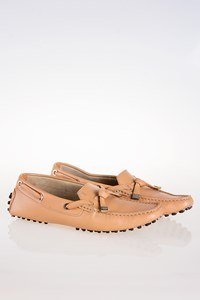 Tod's Beige Leather Loafers with Strap