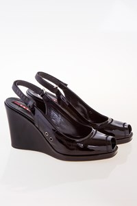 Prada Black Patent Leather Sandals