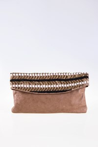 Uterque Bead-Embellished Leather Fold-Over Clutch