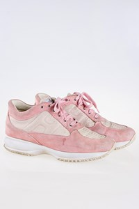 Hogan Interactive Pink Suede Sneakers with Snakeskin
