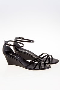 Prada Black Patent Leather Wedge Sandals