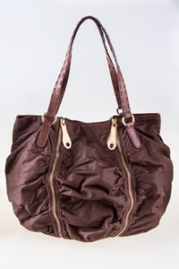 Iceberg Brown Nylon and Leather Shoulder Bag