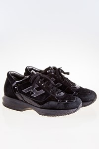 Hogan Interactive Black Suede and Patent Leather Sneakers