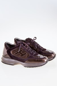 Hogan Interactive Brown Suede and Bronze Patent Leather Sneakers