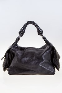 Bottega Veneta Cervo Cocker Black Leather Shoulder Bag